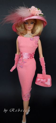 Silk stone Barbie doll with pink ensemble
