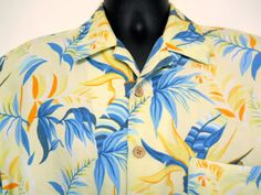 Joe Marlin Hawaiian Shirt Large Mens Yellow Blue Leaves Orange Bamboo Buttons #JoeMarlin #Hawaiian