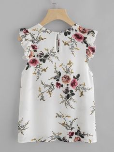 Blouse Summer Women Floral Print Butterfly Sleeve Blouse Crop Tops Chiffon Sleeveless ONeck Color Blouse Femmes Tops Et Blouses Casual Outfits, Fashion Outfits, Fashion Clothes, Fall Fashion, Shell Tops, Outfit Trends, Beautiful Blouses, Mode Style, Summer Tops