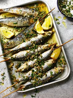 Grilled sardines with coarsely chopped green herbs - The Happy Foodie - Seafood Recipes Sardine Recipes, Fish Recipes, Seafood Recipes, Cooking Recipes, Healthy Recipes, Catering Recipes, Cheese Recipes, Drumstick Recipes, Uk Recipes