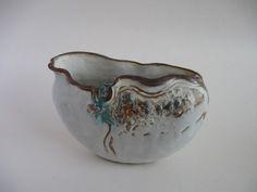 Moulded oval bowl/ textures/glass/oxide details