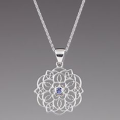 Sterling Silver Flower Medallion Pendant Necklace by Lenox
