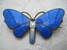 Johannes Bronee Sterling Silver Guilloche Enamel Dragonfly/butterfly Brooch DENMARK Danis