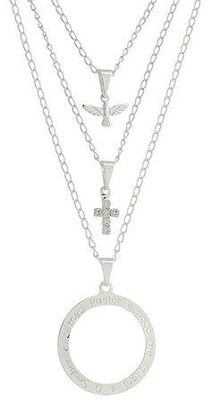 Gargantilha tripla folheada a prata c/ cruz de strass, Divino Espírito Santo e mandala c/ parte do Salmo 23