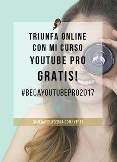 """Consigue mi Curso """"Youtube Pro"""" completamente GRATIS con #BecaYoutubePro 2017. A qué esperas? Haz click YA y participa! TRIUNFA con tu negocio online este año como lo han hecho más de 100 estudiantes ya!   Ximena de la Serna"""