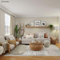 Living Room Decor Cozy, Boho Living Room, Living Room Seating, Plants For Living Room, Living Room Rugs, Neutral Living Room Colors, Artwork For Living Room, Living Room Accents, Living Area