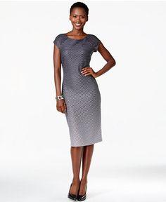 ECI Ombré Dot-Print Midi Sheath Dress - Dresses - Women - Macy's