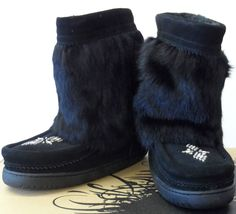 Mukluk Authentic Canadian Manitobah Half Classic Boots Black UK 5 6 & 8 New