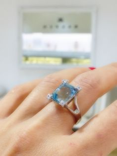 BlueTopaz and diamond Dress Ring#diamond#bluetopaz