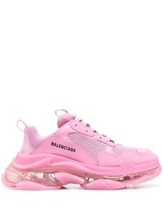 Pink leather Triple S sneakers from BALENCIAGA featuring mesh panelling, logo print to the side, front lace-up fastening, double pull-tab at the opening and chunky rubber sole. Balenciaga Sneakers, Tenis Balenciaga, Balenciaga Basket, Pink Balenciaga, Chanel Sneakers, Dr Shoes, White Nike Shoes, Nike Air Shoes, Pink Shoes