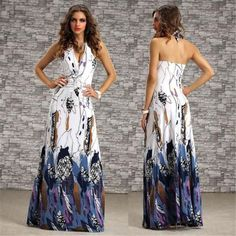 Print V-neck Backless Sleeveless Long Beach Dress