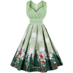 Plus Size Christmas Party Dresses Audrey Hepburn Vintage Printed... ($34) ❤ liked on Polyvore featuring dresses, plus size v neck dress, green dress, swing dress, plus size trapeze dress and plus size dresses #plussizepartyoutfit