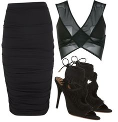Untitled #373 by elinaskoogh featuring DSTM Lanvin ruched skirt, $1,140 / DSTM clothing / Aquazzura fringe shoes, $760