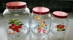 Glass Canister Set, 3 Anchor Hocking, Kitchen Deco from lakegirlvintage on Ruby Lane Vintage Canister Sets, Vintage Jars, Vintage Kitchenware, Vintage Dishes, Vintage Glassware, Vintage Items, Glass Canisters, Kitchen Canisters, Glass Jars