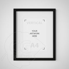 A4 frame Styled mock up Matted black frame Simple by CGmockup