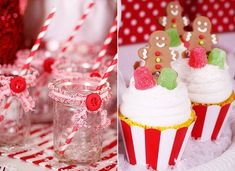 Christmas Party - Trim on Glasses, Gingerbread Man Cupcakes