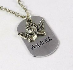 Hand Stamped Mini Dog Tag -Angel with an Angel Charm #Handmade #MiniDogTag