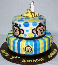 monkey birthday cakes - Bing Images   ...............Maybe just use top layer as bday quests cake with mini banana cake for dawson or...top layer cake for dawson and cupcakes for guests...???