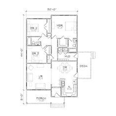 One Story Bungalow Floor Plans | Jones II Bungalow Floor Plan | TightLines Designs