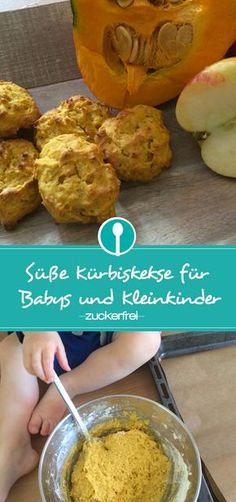 Recipe for sweet pumpkin biscuits without sugar for babies from 10 months - backen - Baby Food Pumpkin Biscuits Recipe, Sugar Free Biscuits, Sugar Free Cookies, Baby Cookies, Cookies Et Biscuits, Pumpkin Cookies, Biscuit Recipe, Baby Snacks, No Bake Snacks