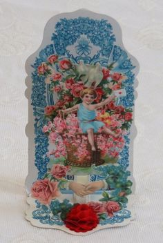 Victorian Vintage Valentine, Forget Me Nots and a Handshake, Red Honeycomb