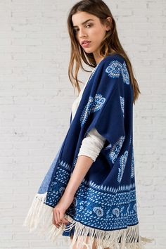 PONCHO JACQUARD PAISLEY, mix azul, hi-res Paisley, Kimono Top, Cover Up, My Style, Tops, Dresses, Women, Fashion, Latest Trends In Fashion