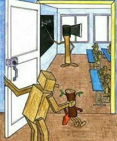 Funny pictures about The start of school. Oh, and cool pics about The start of school. Also, The start of school photos. Satire, Population Du Monde, Pictures With Deep Meaning, Satirical Illustrations, Meaningful Pictures, Deep Art, Social Art, Political Art, Political Problems