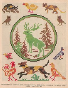 Sentimental Baby: Free Vintage Colored Cross Stitch Pattern cross stitch pattern free vintage animal dog bird cat stag