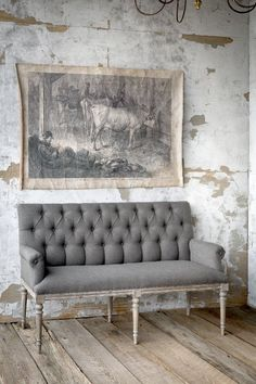State House Grey Settee - Perfect for Farmhouse dining table French Interior, French Decor, French Country Decorating, Interior Design, Painted Fox Home, French Sofa, French Grey, French Cottage, Shabby Chic Furniture