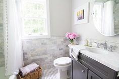 small bathroom layout marble and chrome bathroom with grey vanity Bathroom Renos, Bathroom Renovations, Master Bathroom, Bathroom Ideas, Bathroom Wall, Redo Bathroom, Bathroom Chair, Bathroom Grey, Downstairs Bathroom