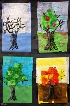 This may be challenging but I think would be a great activity for a seasons unit. The students have the opportunity to be creative as well as show their interpretations of the different seasons as the leaves fall, change and grow.