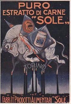 PUBBLICITA' 1920 ESTRATTO DI CARNE PRODOTTI SOLE TORINO CUCINA DADO MOLE TORO