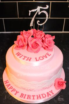 Pink Roses 75th Birthday Cake