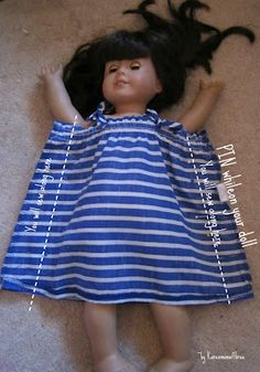 Re purpose a baby dress from your dollar store American Girl Outfits, American Girl Diy, American Doll Clothes, American Dolls, Sewing Doll Clothes, Baby Doll Clothes, Sewing Dolls, Doll Clothes Patterns, Doll Patterns
