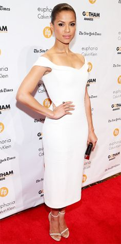 Look of the Day - December 2, 2014 - Gugu Mbatha-Raw in Calvin Klein Collection from #InStyle