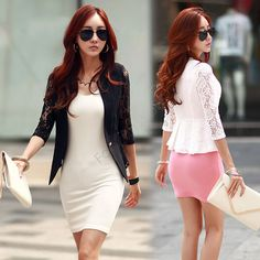 1605eb157f5 2015 New Fashion Spring Women Jacket Suits Short Design Slim Jackets White  Black Lace Sleeve Short