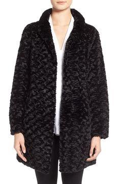 Eliza J Faux Persian Lamb Fur A-Line Coat