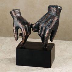Lingering Hold Hands Table Sculpture Bronze