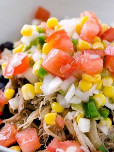 A hearty dish with quinoa, pulled pork, black beans, corn, jalapenos and salsa.