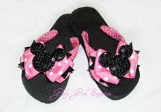 Minnie Mouse sequin Flip Flops by GirlyGirlsEmporium on Etsy, $20.00
