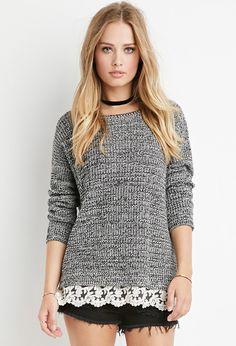 Suéter con encaje en el dobladillo | Forever 21 Mexico