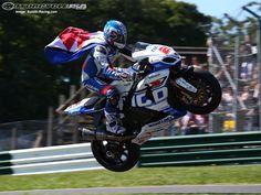 British Superbikes rider Josh Brookes jumping his GSX-R1000 at Cadwell Park.
