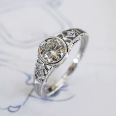 .76ct diamond in 18kw vintage style setting