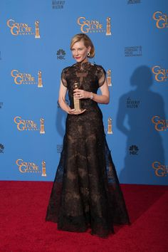 "Kate Blanchett After winning the category of BEST PERFORMANCE BY AN ACTRESS IN A MOTION PICTURE – DRAMA for her role in ""BLUE JASMINE"""
