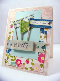 Handstamped Card.  Birthday Flags