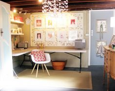 Eclectic Home Office Design Ideas, Pictures, Remodel and Decor.using fold up picnic tables as your home office desk. just take them outside on the patio when you have a bbq or party Basement Craft Rooms, Basement Office, Basement Ideas, Cozy Basement, Rustic Basement, Walkout Basement, Basement Walls, Basement Stair, Garage Office