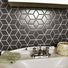 SomerTile 10.5x12.125-inch Victorian Rhombus Matte Grey Porcelain Mosaic Floor and Wall Tile (10/Case, 9.04 sqft.)