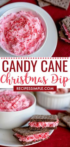 This Candy Cane Christmas Dip recipe is an easy to make appetizer or dessert with cream cheese, marshmallow fluff and crushed candy canes. via food Candy Cane Christmas Dip Christmas Cake Pops, Christmas Snacks, Christmas Cooking, Holiday Treats, Christmas Candy, Christmas Apps, Family Christmas, Christmas Deserts Easy, Holiday Appetizers Christmas Parties