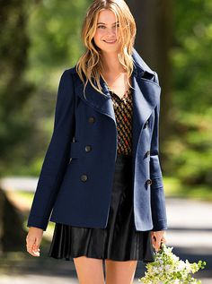 This peacoat is so perfect for fall....I want this entire outfit!! The coat, top and skirt are all at Victoria's Secret!