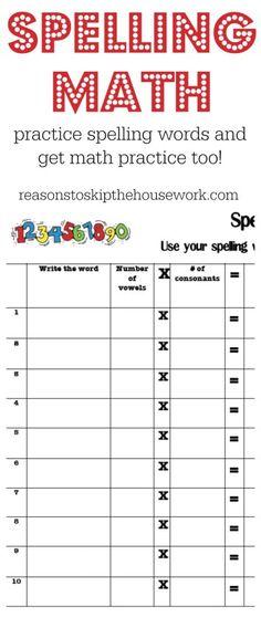 Practice Spelling Words - Reasons To Skip The Housework
